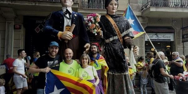 A la manifestació de Barcelona.
